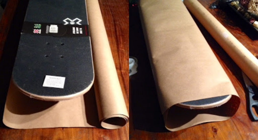how to wrap a skateboard as a present